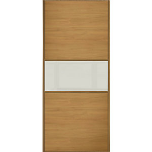 Wickes Sliding Wardrobe Door Fineline Oak Panel & Arctic White Glass