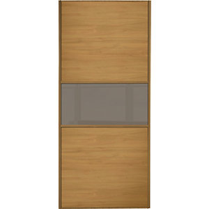 Wickes Sliding Wardrobe Door Fineline Oak Panel & Cappuccino Glass