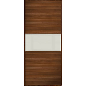 Wickes Sliding Wardrobe Door Fineline Walnut Panel & Arctic White Glass