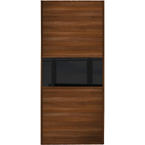 Wickes Sliding Wardrobe Door Fineline Walnut Panel & Black Glass