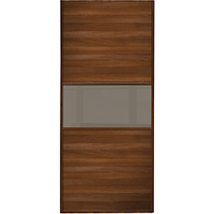 Wickes Sliding Wardrobe Door Fineline Walnut Panel & Cappuccino Glass