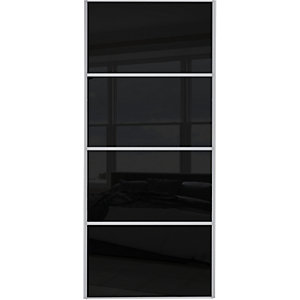 Wickes Sliding Wardrobe Door Silver Framed Four Panel Black Glass