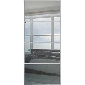 Wickes Sliding Wardrobe Door Silver Framed Four Panel Mirror