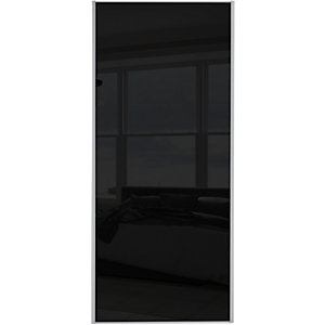 Wickes Sliding Wardrobe Door Silver Framed Single Panel Black Glass
