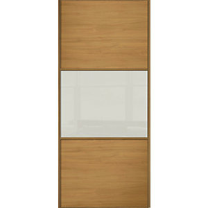 Wickes Sliding Wardrobe Door Wideline Oak Panel & Arctic White Glass