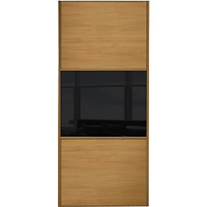 Wickes Sliding Wardrobe Door Wideline Oak Panel & Black Glass