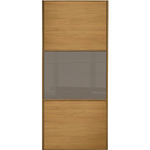 Wickes Sliding Wardrobe Door Wideline Oak Panel & Cappuccino Glass