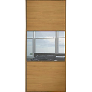 Wickes Sliding Wardrobe Door Wideline Oak Panel & Mirror