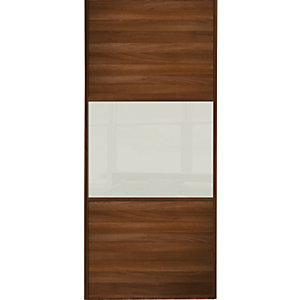 Wickes Sliding Wardrobe Door Wideline Walnut Panel & Arctic White Glass