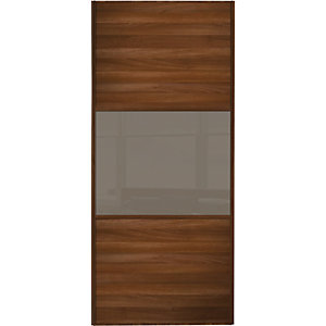 Wickes Sliding Wardrobe Door Wideline Walnut Panel & Cappuccino Glass
