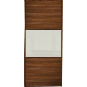 Wickes Sliding Wardrobe Wideline Door Walnut Panel & Arctic White Glass