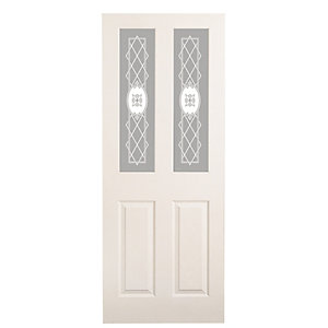 Wickes Stirling White Glazed Grained Moulded 4 Panel Internal Door