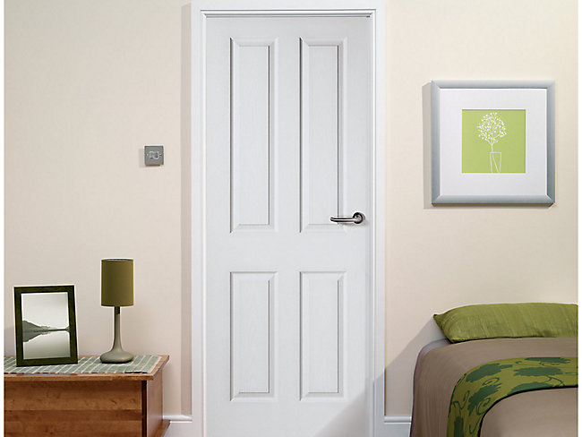 Stirling White Grained Moulded 4 Panel Internal Door