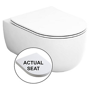 Wickes Teramo Easy Clean Wall Hung Toilet Pan & Soft Close Seat