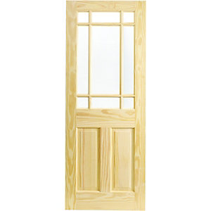 Wickes Truro Glazed Clear Pine 3 Panel Internal Door