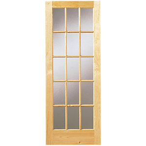 Wickes Whitby Fully Obscure Glazed Clear Pine 15 Lite Internal Door