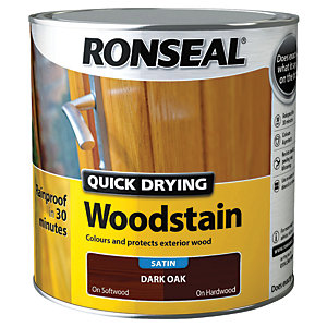 Ronseal Quick Drying Woodstain - Satin Dark Oak 2.5L