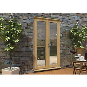 Rohden Pattern 10 Unfinished Oak French Doors - 4ft