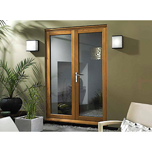 Wickes Eden Slimline Oak French Door - 1490mm
