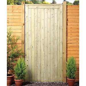 Wickes Framed Ledged & Braced Flat Top Timber Gate - 915 x 1829 mm