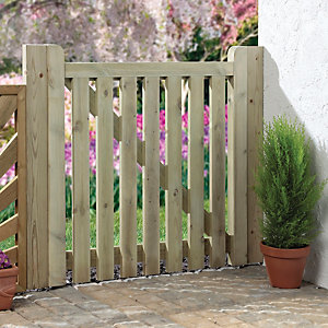Wickes Palisade Open Slatted Timber Gate - 915 x 895 mm