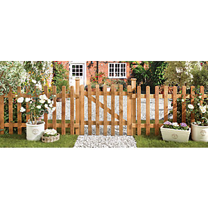 Wickes Palisade Round Top Timber Gate - 900 x 900 mm