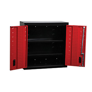 Hilka Garage Storage Locking Wall Hung Unit - Red & Black