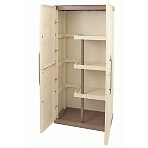 Large Exterior Storage Cabinet with Shelves & Broom Storage - 390 x 700mm x 1.65m
