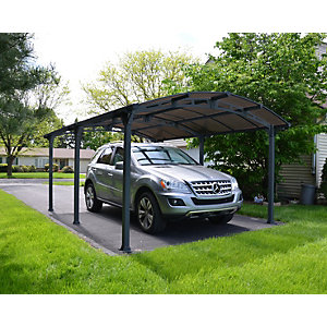 Palram 12 x 16 ft Arcadia Polycarbonate Freestanding Carport Grey