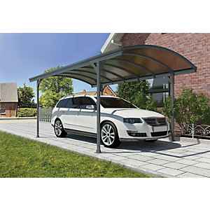 Palram 9 x 16 ft Vitoria Polycarbonate Freestanding Carport Grey