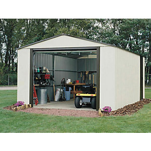 Rowlinson Murryhill Vinyl Coated Steel White Garage with Roll Over Door - 12 x 17 ft