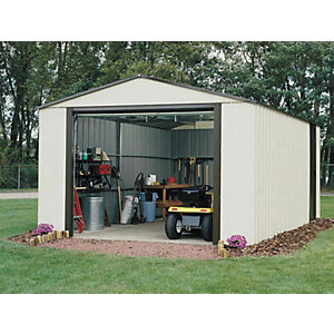 Rowlinson Murryhill Vinyl Coated Steel White Garage with Roll Over Door - 12 x 31 ft