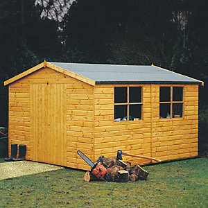 Shire 10 x 14 ft Bison Shiplap Double Door Timber Workshop
