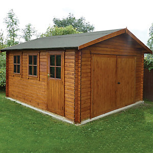 Shire 14 x 17 ft Bradenham Double Door Timber Garage with Single Side Door