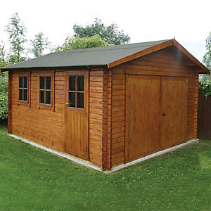 Wickes Bradenham Double Door Timber Garage with Single Side Door - 13 x 15 ft