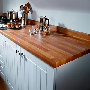 Wickes Laminate Upstand - Cherry Block Effect 70 x 12mm x 3m