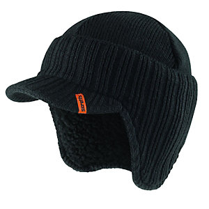 Scruffs Peaked Knitted Work Beanie Hat Black - One Size
