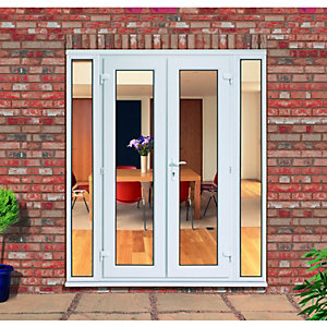 newest 01480 f3946 uPVC French Doors Outwards Opening with 2x 300mm Side Panels