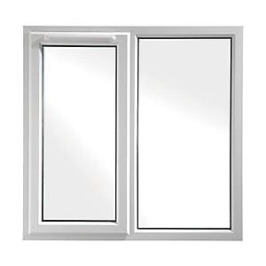 Wickes White uPVC Casement Window - Left Side Hung & Fixed Lite 1190 x 1160mm
